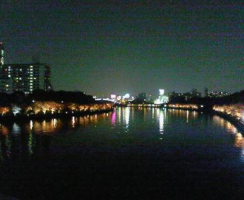 川崎橋の上から見た大川・夜景
