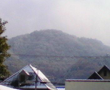 雪と靄に包まれた瓜生山