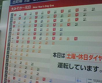 京阪電車 大晦日から元日の時刻表