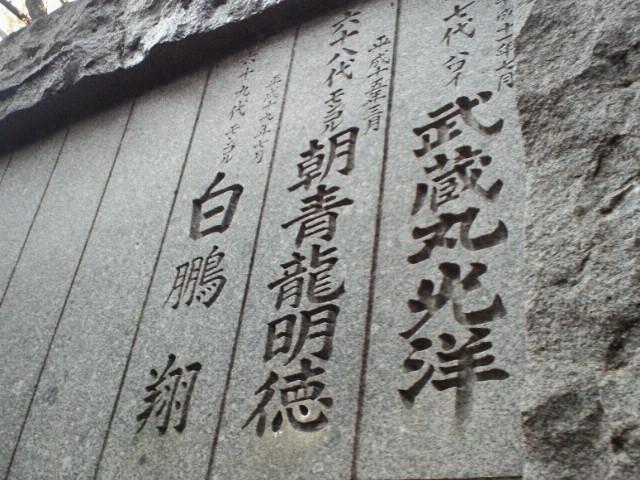 武蔵丸光洋、朝青龍明徳、白鵬翔の銘