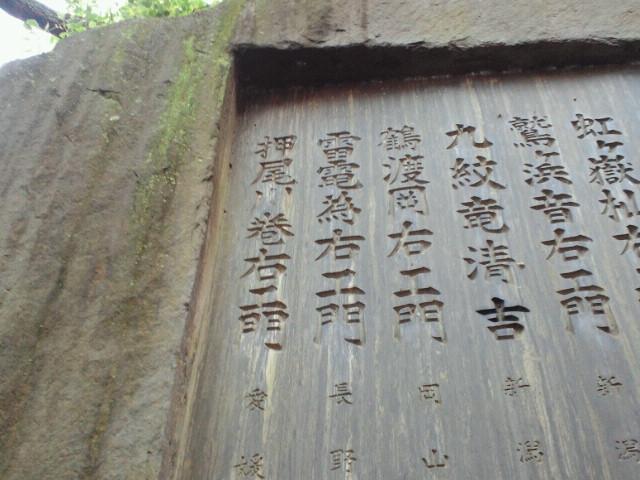 大関力士碑雷電為右衛門の銘