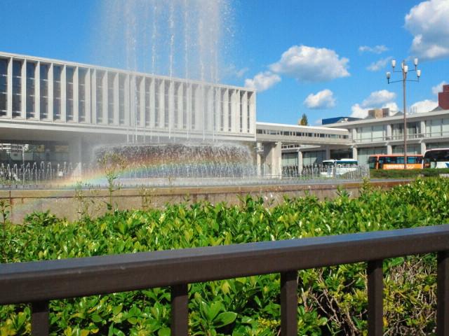 広島平和記念公園・祈りの泉の虹