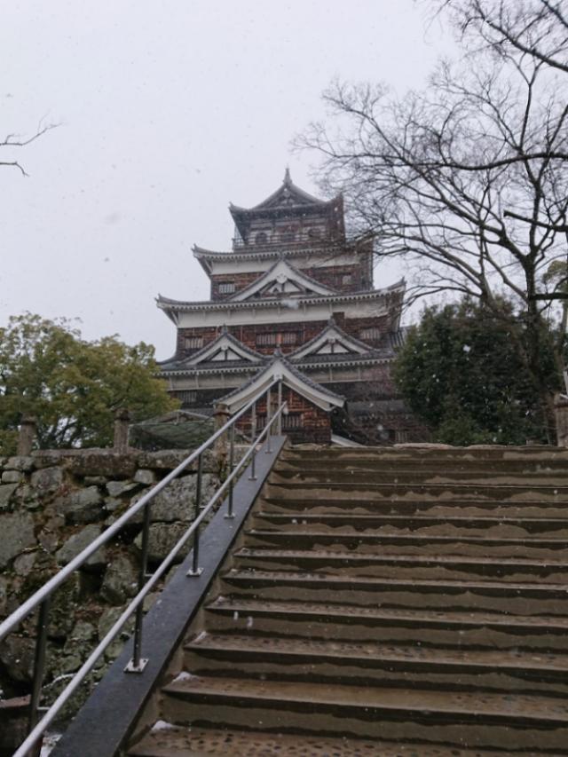 雪の日の広島城天守