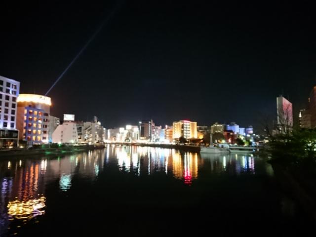 福岡 灘の川橋から見た夜の中洲