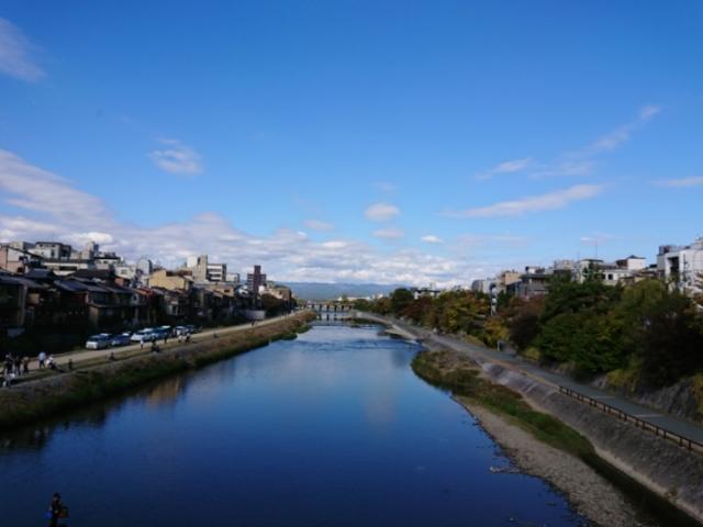 四条大橋 川面の空